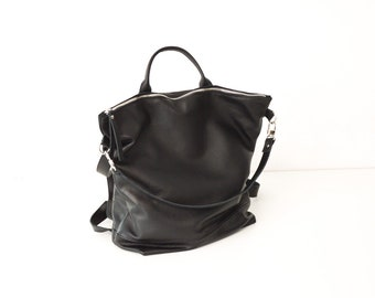 Handmade leather backpack black leather backpack for woman laptop backpack