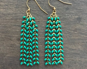Colorful Chevron Chain Dangle Earring