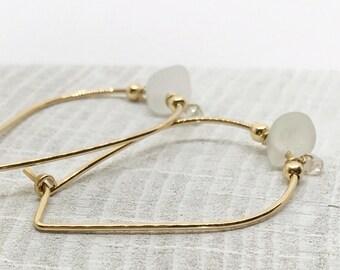 Gold seaglass hoop earrings, sea glass hoops, aquamarine hoop earrings, gold hoops, clear glass earrings, seaglass earrings