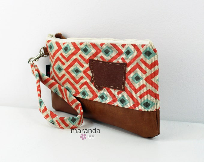 Flat Clutch - On Point Coral with Montana Patch and PU Leather READY to SHIp