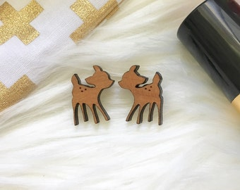 Wooden deer earrings