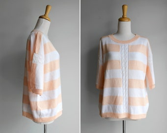 FINAL SALE Vintage Peach and Ivory Striped Crop Pull Over- Pink White Cable Knit Sweater Short Sleeve Boxy Drop Shoulder- Size Medium M L