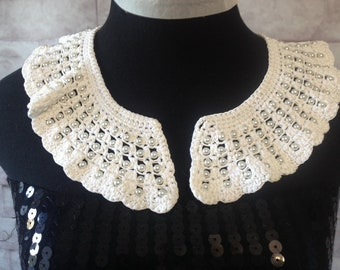 Vintage Style Crocheted Lace Collar in white Sale