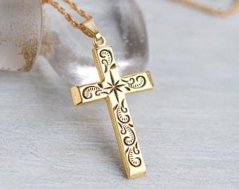 Golden Cross Necklace - Diamond Cut- Vintage Religious Jewelry