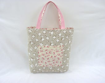 Tote Bag in cotton Double flower for Shopping the current print white flowers