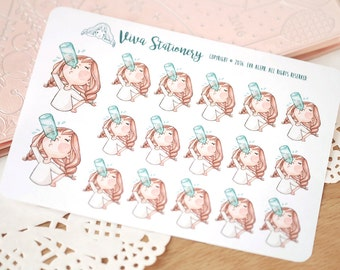 "Kawaii Girl ""Keep Hydrated!"" Decorative Stickers ~ Vera ~ For your Life Planner, Diary, Journal, Scrapbook..."
