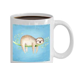 Happy Sloth on Blue Background Gift Mug