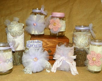 Burlap Pink & Purple Jars Decorated with Burlap, Linen and Lace Jars Set of 8 Different Jars, Add Fresh Cut Flowers for Centerpieces