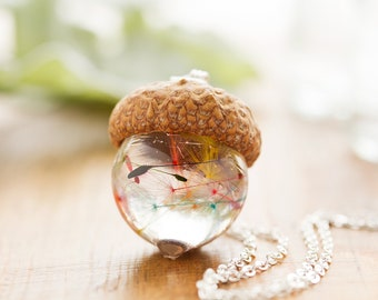 "Dandelion Wish Necklace Real Acorn ""Rainbow Dandecorn"" - Real Flower Jewellery , Rainbow Necklace  , Acorn Necklace , Fairy Necklace"