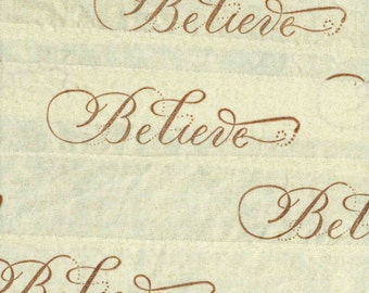 BELIEVE in Christmas hand stamped glitter fabric muslin ribbon gift wrap card making natural trim  1134 . ....oohlala