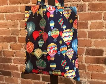 Hot air balloons bag, Balloons tote bag, Shoulder bag, Japanese cotton, Gifts for her, Shopping Bag, Library bag, Book bag, market bag