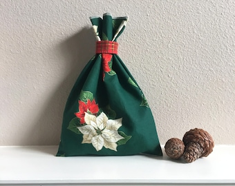 Christmas Poinsettia Gift Bag, Gift For Her, Green Gift Bag, Jewelry Gift Bag, Sustainable, Reusable, Christmas Gift Bag, Christmas Presents