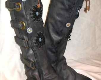 Leather Steampunk Boots Renaissance Moccasins Pirate Medieval Boots Custom  Handmade by Debbie Leather
