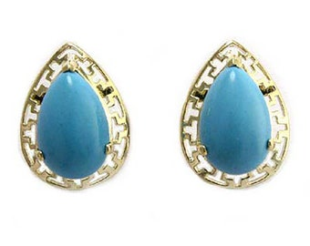 14k Gold Turquoise Greek Key Earrings   E502