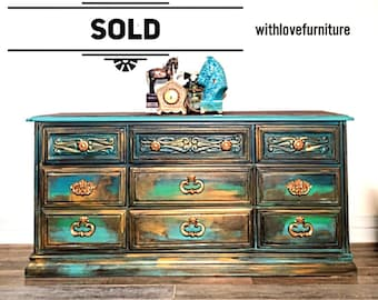 Bohemian Inspired Patina Dresser / Credenza / Buffet / Tv Stand / Changing Table