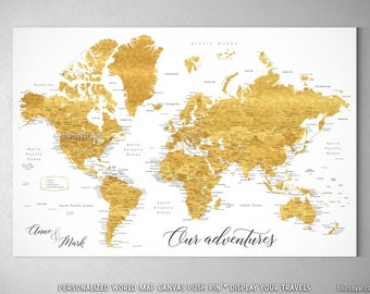 Large gold world map etsy personalized push pin world map gold world map canvas push pin large world map gumiabroncs Gallery