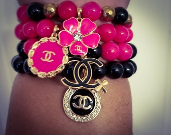 Pink Jade, Black Onyx with Gold Hematite Bracelet Set (3 Pieces)