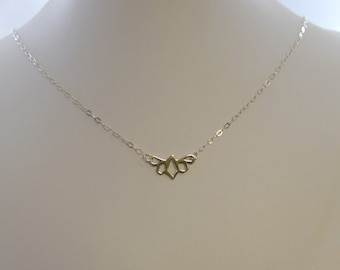 Sterling Silver Flower Connector Choker, Sterling Silver Choker, Flower ConnectorNecklace, Silver Choker, Sterling Silver Necklace,  N058