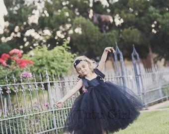 Flower Girl Black Tutu Dress, Flower Girl Black Dress - Fully Sewn - Custom Dress Sizes Girls Toddler Baby