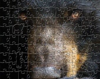 Black Bear Zen Puzzle - Hand crafted, eco-friendly, American made artisanal wooden jigsaw puzzle