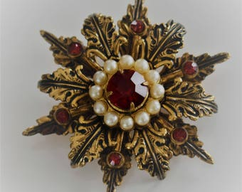 Early Vintage CORO Signed Faux Pearl Red Rhinestone Brooch