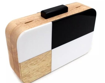 Black and White Acrylic wood clutch