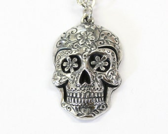 Sugar Skull Pendant, Large Sugar Skull Necklace Silver Sugar Skull Jewelry - Day of the Dead 450