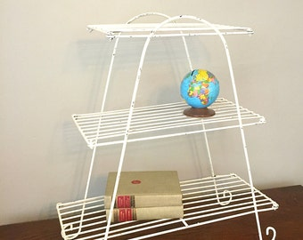 Mid-Century Three Tiered White Metal Book Stand, Plant Stand, Mid-Century Side Table