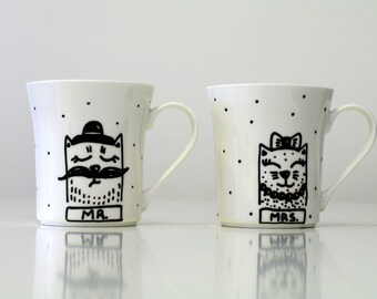 Mr and Mrs mugs CATS, Mr and Mrs Engagement Gift, Handpainted mugs Mr Mrs Mugs Set, Cats Wedding Mugs, Coffee Cups Bridal Gift, Wedding Gift