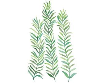 Green Vines 4x6 8x10 Print - Bohemian Watercolor Art, Green Plant Art, Minimal Trendy Art, Sea Grass Seaweed Print, Green Plant Illustration