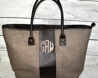 Brown or Black Herringbone Carry On Duffle Bag, Tote Bag, Personalized Tote