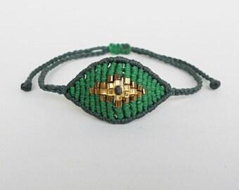 Green Evil eye bracelet Beaded bracelet Bronze beads Macrame Mati Greek gift Mal de ojo Good luck All seeing eye Devil eye,Protection amulet