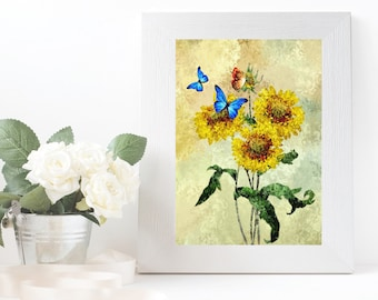Sunflower floral printable wall art Clipart nature forest flower Printable wall art landscape Digital print artwork watercolor Sunflower JPG