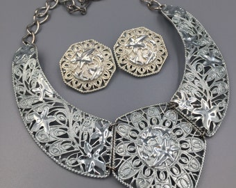 Barrera for Avon Necklace Earrings Set, Silver Plated, Spanish Style, Falling Leaves, High End Avon, Vintage 1980s, Jose Maria Barrera