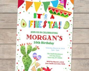 Fiesta Birthday Invitation, Fiesta Birthday Party Invitation, Mexican Theme Birthday Invitation, Digital Or Printed