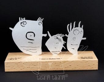 Sculptures de table personnalisés argent fait à la main, cadeaux d'art de votre enfant, cadeau unique, cadeau pour elle, cadeau pour lui, les enfants l'art, sculpture