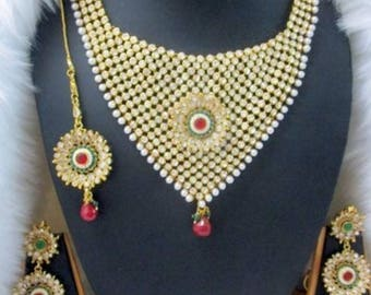 Beautiful Kundan necklace set red and gold