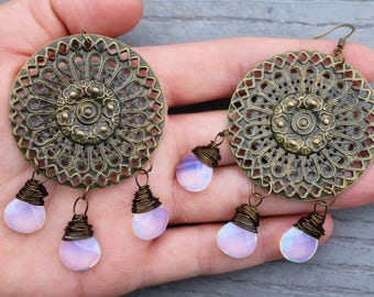 Bohemian Opalite Gemstone Jewelry Christmas Gifts for her Boho Earrings Opal Jewelry Boho Jewelry Crystal Jewelry for her Statement earrings