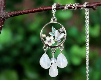 Rainbow Moonstone Pendant Necklace.Jeweled.Crystal.Sterling Silver Chain.Dainty.Bridal.Statement.Cluster.White.Floral.Circle.Gift.Handmade.