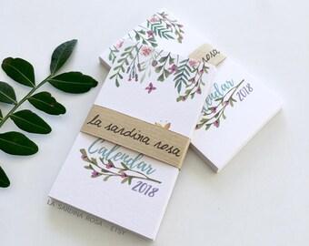 2018 MINI desk Calendar, 2018 Small wallet calendar, Business card Floral calendar, Stocking Stuffers, Printed Pocket Calendar