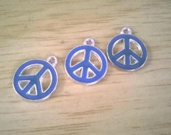blue peace sign charm