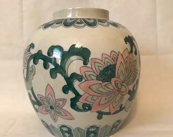 Pink and Green Chinoiserie Lotus Blossom Ginger Jar