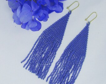 cornflower blue handstitched seed bead flower fairy earrings