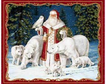 "SALE All is Calm Metallic Arctic Santa Fabric Panel; 25871-R; 35"" x Width; Quilting Treasures; Wolf, Polar Bear, Owl; Christmas Fabric"