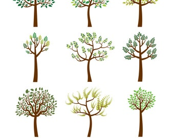 Tree clipart, Family tree clip art, Whimsical tree, Green Leaf tree, Summer tree clip art, Wedding tree graphic set small commercial use