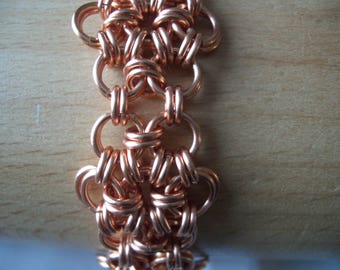 Helm flower chainmaille copper bracelet