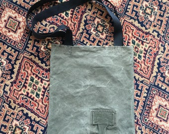 Upcycled military canvas tote bag