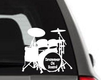 Drummer On Board, Drummer Decal, Drummer Window Decal, Drum Car Decal, I Love Drums, Drummer Car Vinyl, Drummer Sticker, Drummer Car Decal