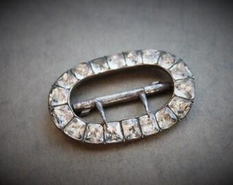 Antique Georgian Foiled Paste Buckle / Velvet Choker Slide
