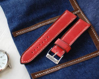 Red Leather 18mm Watch Strap Red Leather 20mm Watch Strap Red Leather 22mm Watch Strap Red Leather 24mm Watch Strap Red Leather Watch Strap